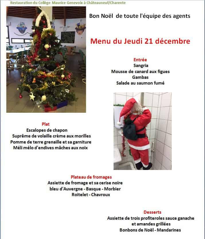 Un Bon Menu De Noel.Menu De Noel College Maurice Genevoix